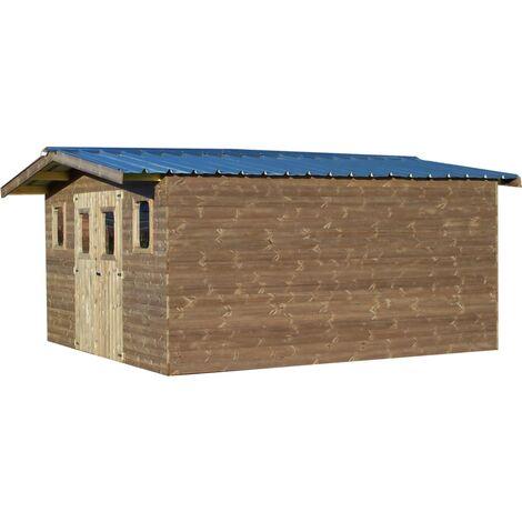 Abri THERMABRI madriers sans plancher, toit double pente bac acier 23,82 m²
