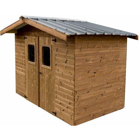 Abri THERMABRI madriers sans plancher, toit double pente bac acier 7,81 m²