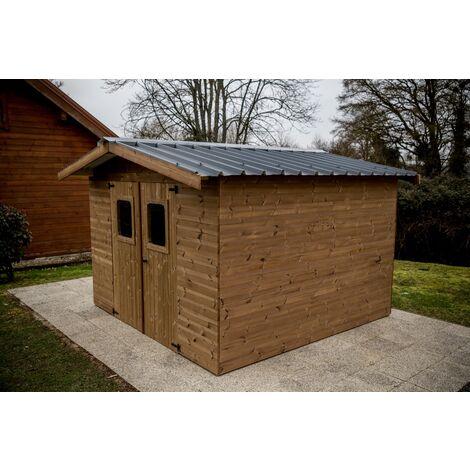 Abri THIERS madriers - 11,97 m² sans plancher - toit double pente bac acier
