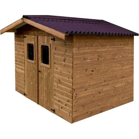 Abri THIERS madriers sans plancher, toit double pente 11,97 m²