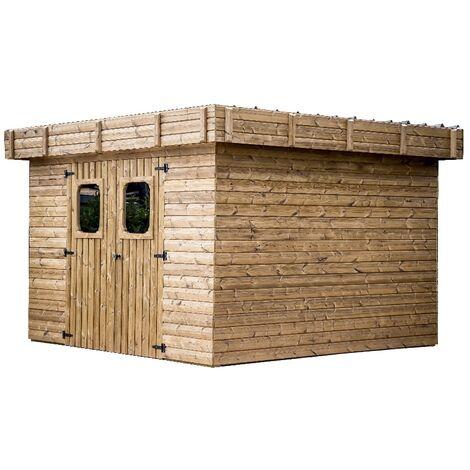 Abri THIZY madriers sans plancher, toit plat bac acier 11,53 m²