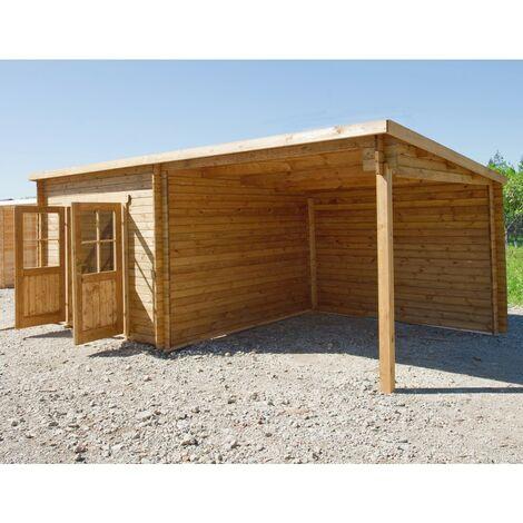 Abri toit plat 9m² PLUS + terrasse 9m² 28mm traité marron Gardy Shelter