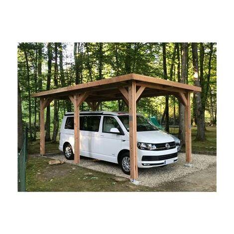 Abri Toit Plat, Bois DOUGLAS Français, Carport, Auvent, Abri voiture, 650cmx500cm