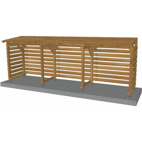 Abri vélos couvert en bois traité | Origine France | 6m x 1.18m| Avec pieds de poteaux