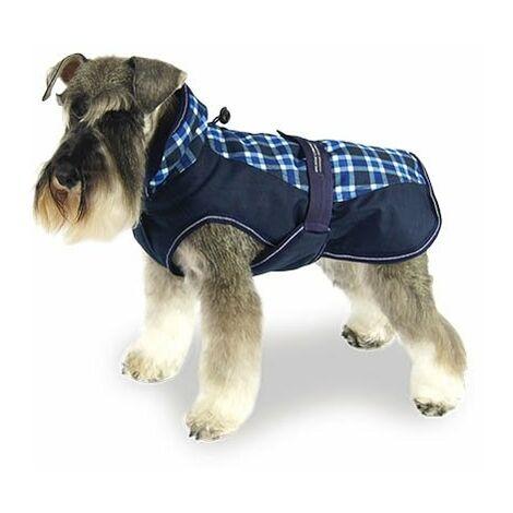 Abrigo impermeable para perros +Scott Breathe Comfort estampado de cuadros azules y blancos disponible en varias opciones