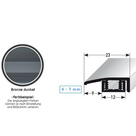 """Abschlussprofil / Abschlussleiste für Vinyl / Laminat / Parkett """"Scranton"""", für Höhe 4 - 7 mm, 23 mm breit, 2-teilig, Aluminium eloxiert, gebohrt"""