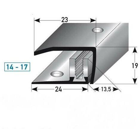 """Abschlussprofil / Abschlussleiste Laminat """"Clarington"""", Höhe 14 x17 mm, 23 mm breit, 3-teilig, Edelstahl, gebohrt, Flex"""