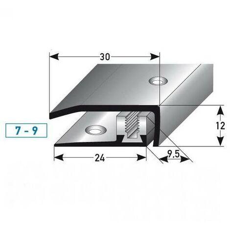 """Abschlussprofil / Abschlussleiste Laminat """"Davidson"""", Höhe 7 x9 mm, 30 mm breit, 3-teilig, Edelstahl, gebohrt, Flex"""
