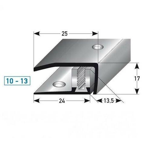 """Abschlussprofil / Abschlussleiste Laminat """"Stratford"""", Höhe 10 x13 mm, 30 mm breit, 3-teilig, Edelstahl, gebohrt, Flex"""