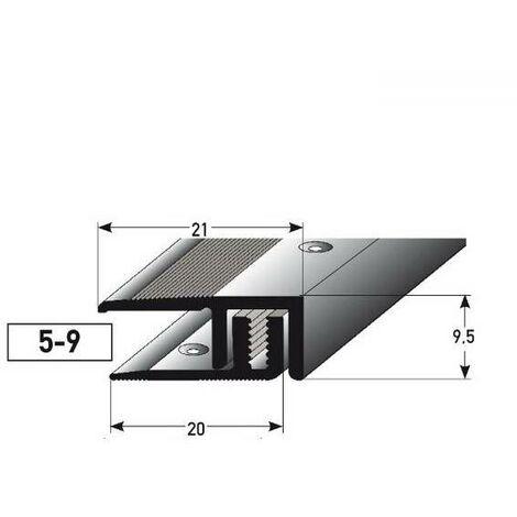 """Abschlussprofil / Abschlussleiste Laminat """"Victoria"""", Höhe 5 - 9 mm, 21 mm breit, 2-teilig, Aluminium eloxiert, gebohrt"""