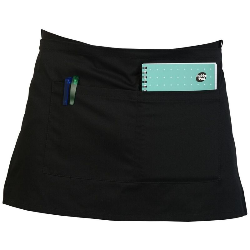 Image of Adults Workwear Waist Apron With Pocket (Pack of 2) (One Size) (Black) - Absolute Apparel