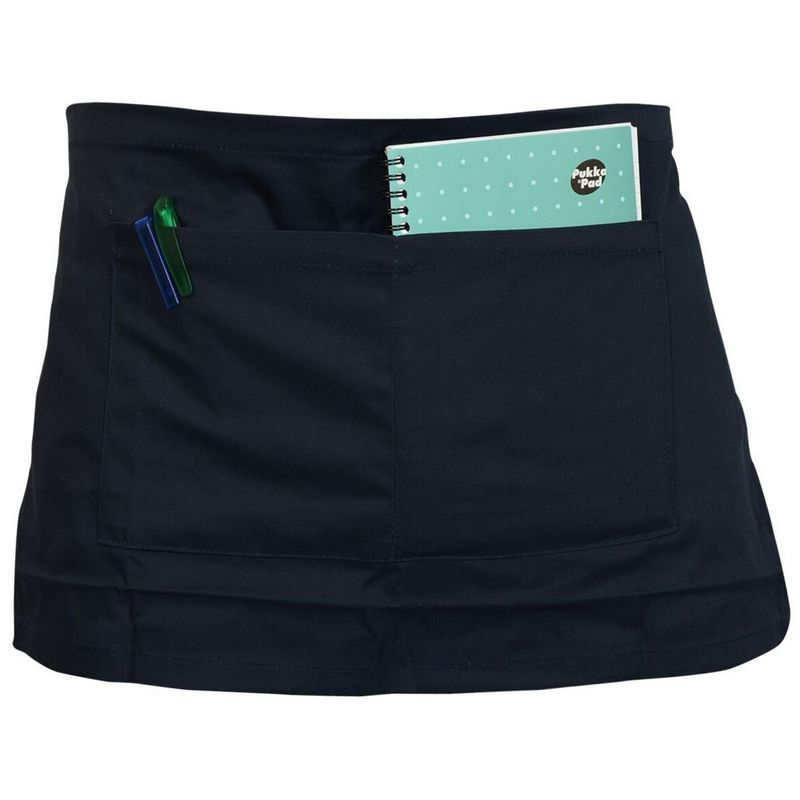 Image of Adults Workwear Waist Apron With Pocket (Pack of 2) (One Size) (Navy) - Absolute Apparel