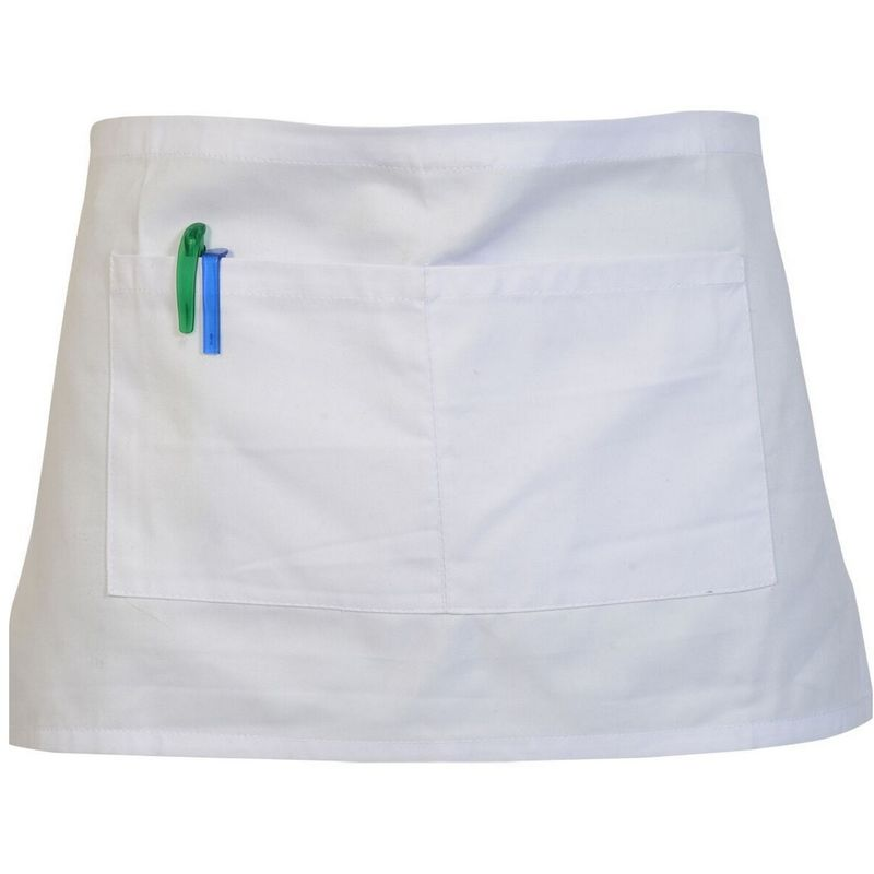 Image of Adults Workwear Waist Apron With Pocket (Pack of 2) (One Size) (White) - Absolute Apparel