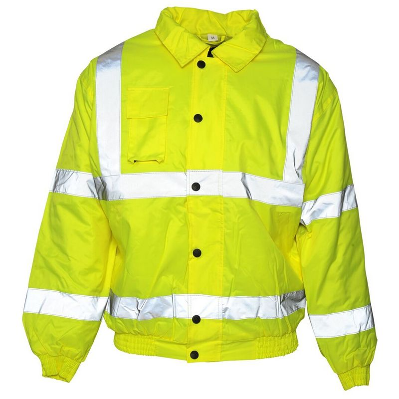 Image of Mens Hi Viz Bomber Jacket (L) (Saturn Yellow) - Absolute Apparel