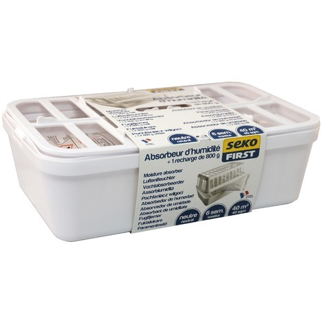 Absorbeur d'humidité large Seko First - 40 m² - Absorbeur + recharge 800 g