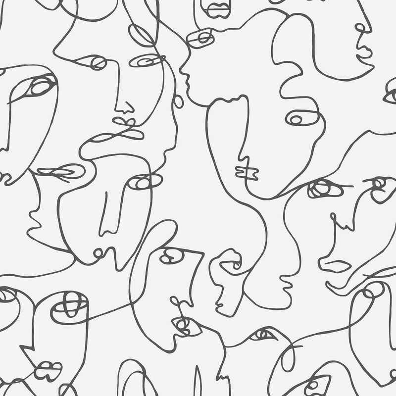 Image of Abstract Faces Wallpaper Holden Black White Trendy Modern Contemporary