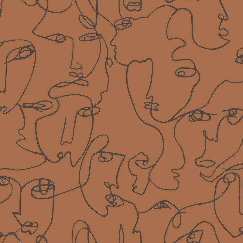 Image of Abstract Faces Wallpaper Holden Burnt Orange Trendy Modern Contemporary