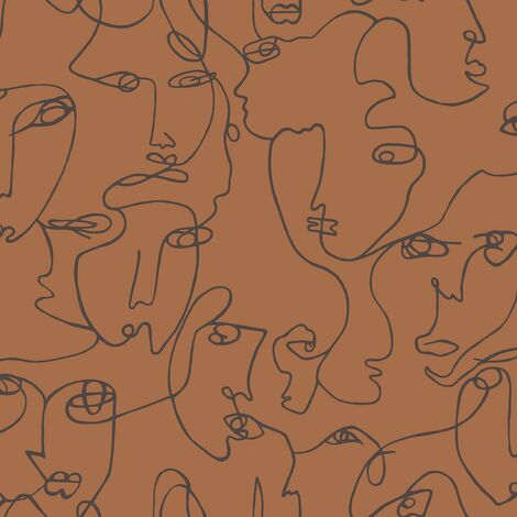 Abstract Faces Wallpaper Holden Burnt Orange Trendy Modern Contemporary