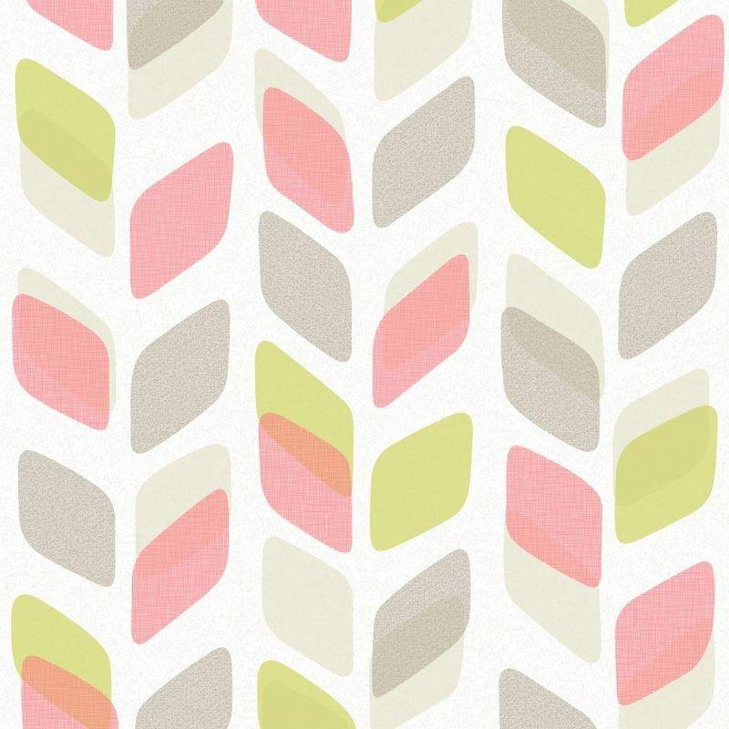 Image of Pink Green Grey White Geometric Leaf Wallpaper Retro Vinyl Paste Wall Grandeco