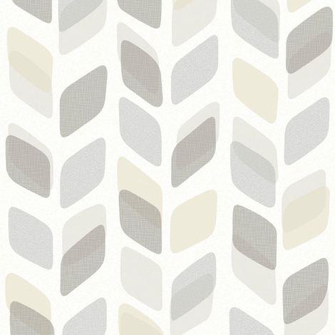 Abstract Leaf Leaves Wallpaper Retro Vintage Geometric Textured Vinyl 3 Colours