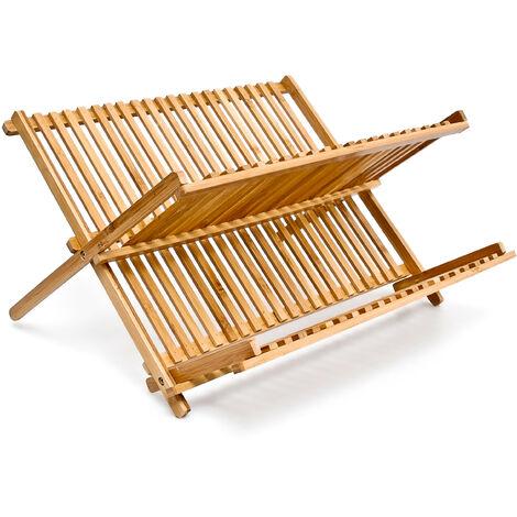 Abtropfgestell CROSS HBT 24,5 x 42 x 33 cm Abtropfgitter Bambus klappbar Geschirrabtropfer für Teller und Tassen als Geschirr Abtropfkorb und Holz Geschirrkorb, natur