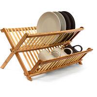 Abtropfgestell CROSS HBT 24,5 x 47 x 33,5 cm Abtropfgitter Bambus klappbar Geschirrabtropfer für Teller und Tassen als Geschirr Abtropfkorb und Holz Geschirrkorb mit Bestecksammler, natur