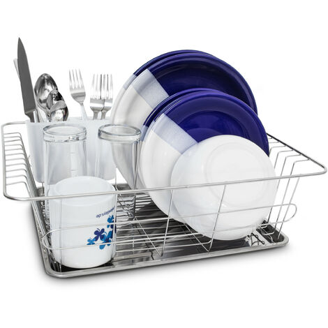 Abtropfgestell L in Edelstahl-Optik HBT 40,5 x 30,5 x 13 cm Geschirrkorb mit Abtropfgitter und Auffangwanne Geschirrständer mit Besteckkorb und Abtropfschale für Teller und Besteck, silber