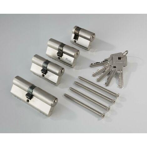 Abus Jeu de cylindres de fermeture en 4 parties avec 5 clés sans coupure de sécurité latérale