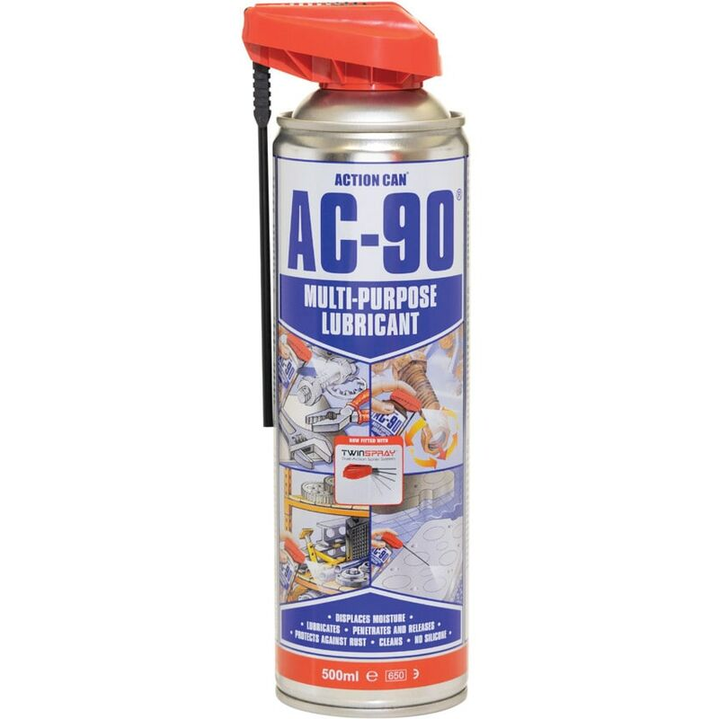 Image of Multi-purpose Lubricant, AC-90, Twin Spray LPG, 500ML - Action Can