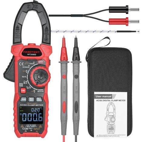 Ac / Dc Numerique Pince True-Rms Multimetre Anto-Allant Multi Testeur Pince De Courant Avec Amp Volt Ohm Diode Capacitance Resistance Continuite Ncv Temperature Rapport Cyclique Tests Vfd