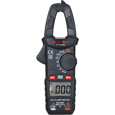 Ac Pince Multimetre Numerique Ultraportable Pince De Courant Ac Auto-Ranging Multimetre Multi Testeur Pour Les Essais Ac / Dc Tension Resistance De Continuite Diode Capacitance, Noir