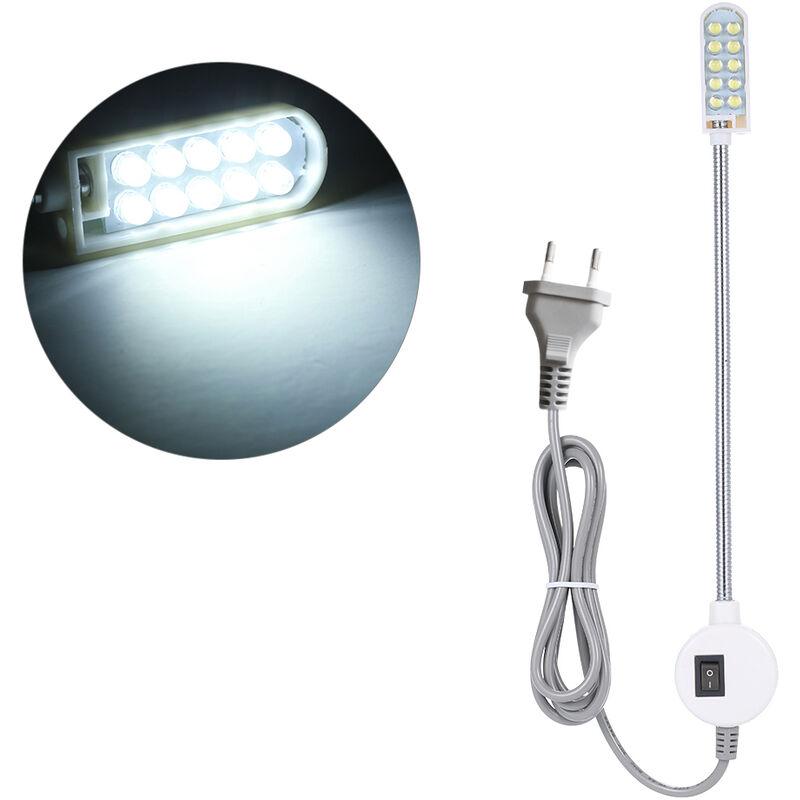 Asupermall - Ac110-245V 0.5W 10 Led Eu Plug Machine a Coudre Lampe Magnetique Bouton De Base Fixe Commutateur Flexible Bendable Gooseneck eclairage