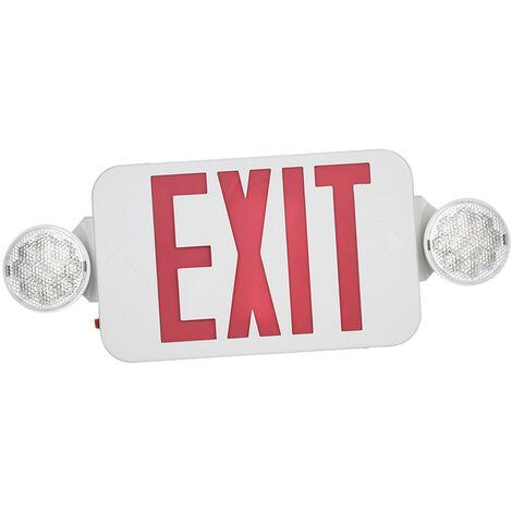 Ac120 / 277V Red Exit Sign Led Combo Gyrophare Avec Reglable Deux Tetes De Sauvegarde Accus Mur De Plafond Pour Stairway Hall D'Entree Salle Utilisation