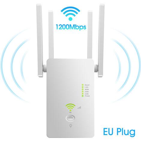 Ac1200Mbps D'Acces Sans Fil Long Point Range Extender Wifi 802.11N Sans Fil Repeteur Wifi Booster 2,4 Ghz / 5,8 Ghz Wifi Amplificateur Routeur Wifi, Blanc
