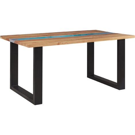 Acacia Dining Table 160 x 90 cm Light Wood with Blue Epoxy Resin RIVIERA