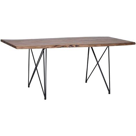 Acacia Dining Table 200 x 100 cm Dark Wood with Black MUMBAI