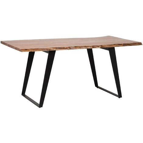 Acacia Dining Table 200 x 100 cm Light Wood with Black JAIPUR