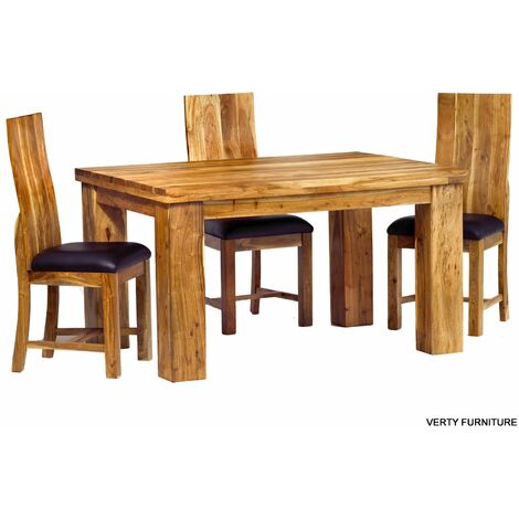 Acacia Dining Table - Small with 4 Chairs - Natural
