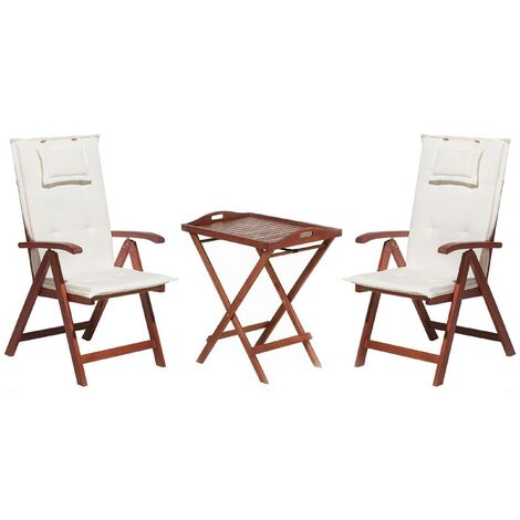 Acacia Wood Bistro Set with Cushions Off-White TOSCANA