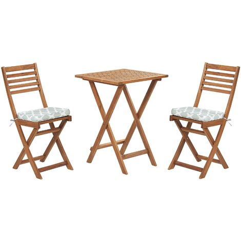 Acacia Wood Garden Bistro Set with Mint Green Cushions FIJI