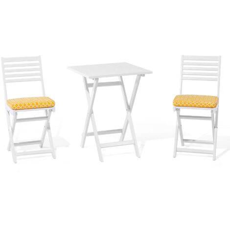 Acacia Wood Garden Bistro Set with Yellow Cushions White FIJI