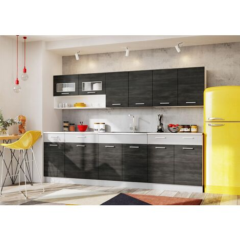 ACAIA | Cuisine Complète Modulaire + Linéaire L 260cm 7 pcs | Plan de travail + égouttoir INCLUS | Ensemble Armoires cuisine | Pin