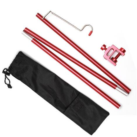 Acampar al aire libre tabla Pequeno poste ligero de aleacion de aluminio ligero bastidor portante plegable linterna soporte plegable de luz de lampara colgante de rack Polo, Rojo