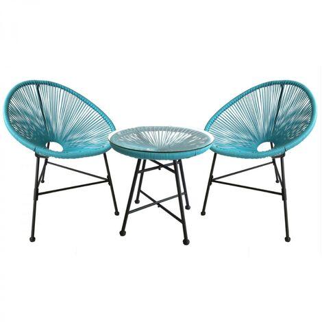 Acapulco : Ensemble 2 fauteuils œuf + table basse