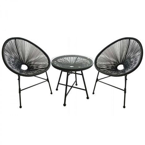 Ensemble de jardin Acapulco gris, 2 fauteuils œuf et une table basse ...