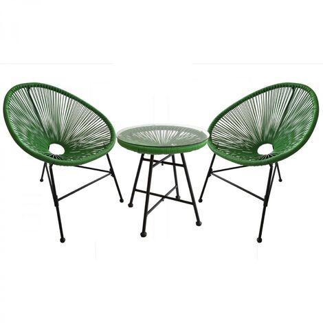 "main image of ""Acapulco : Ensemble 2 fauteuils oeuf + table basse vert"""
