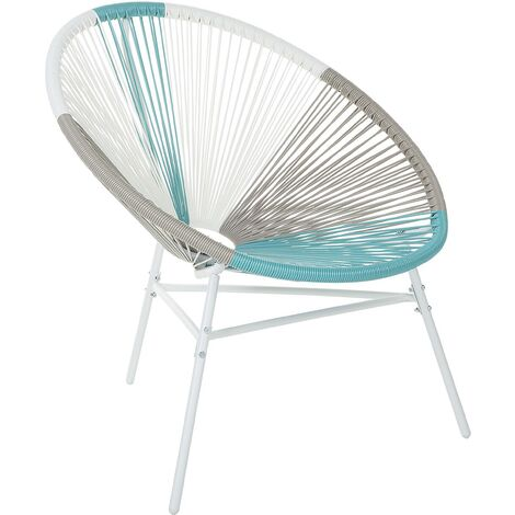 Accent Chair Round Multicolour Turquoise Rattan Steel Living Room Acapulco