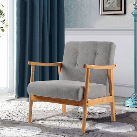 """main image of """"Accent Chair Wooden Frame Fabric Button Back Chair Armchair Seat Grey"""""""