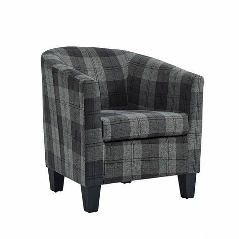 "main image of ""Accent Tub Chair, Grey Tartan Fabric"""