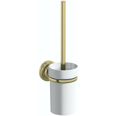 Accents 1805 antique gold toilet brush and holder